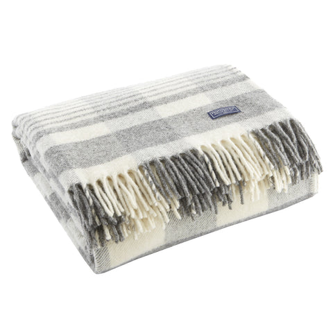 Faribault Plaid Wool Throw by Faribault WHITE/GREY - Apt2B - 1