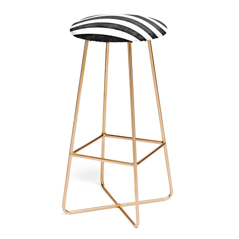FARMHOUSE SHABBY STRIPES BLACK Bar Stool by Monika Strigel