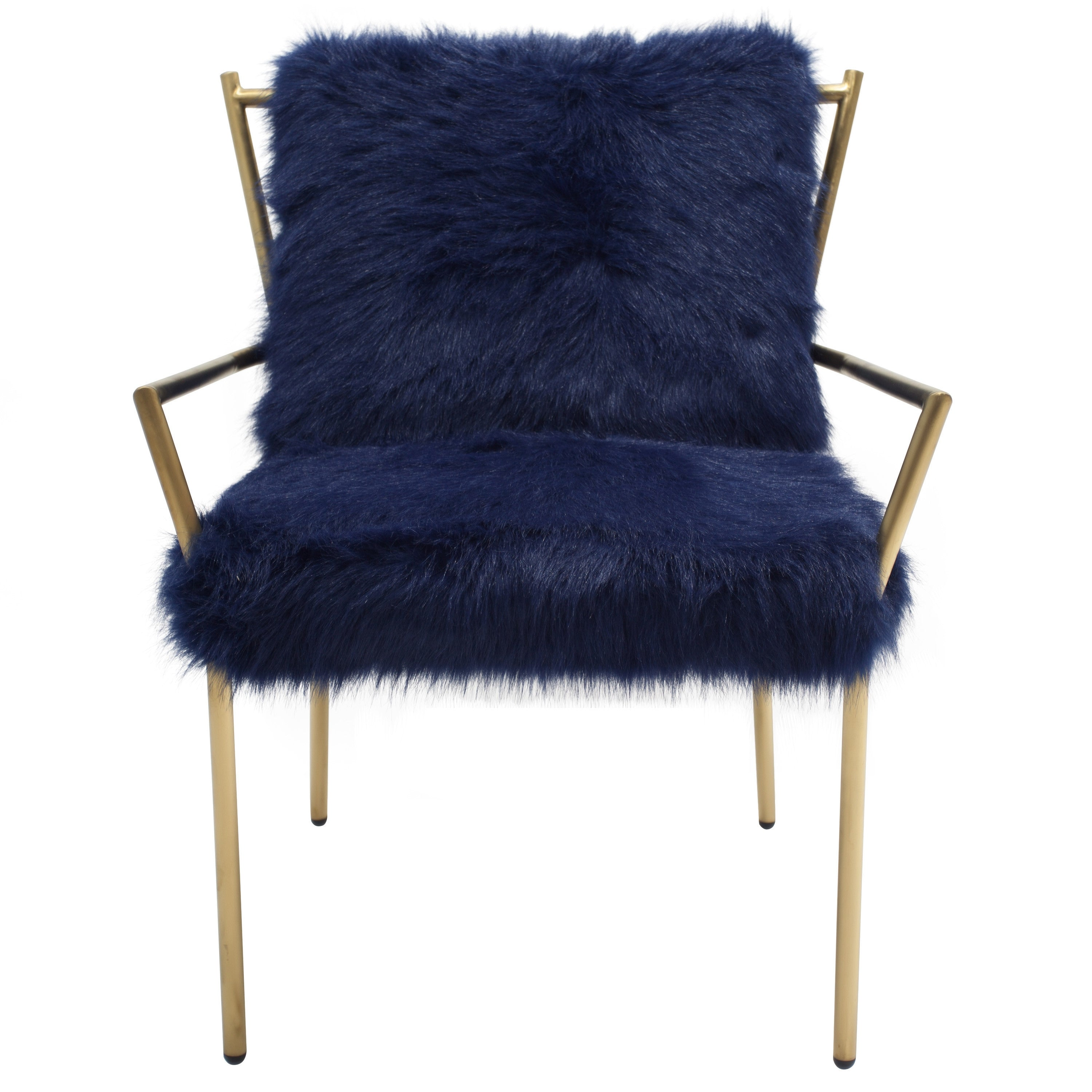 Bancroft Faux Fur Accent Chair NAVY GOLD – Apt2B