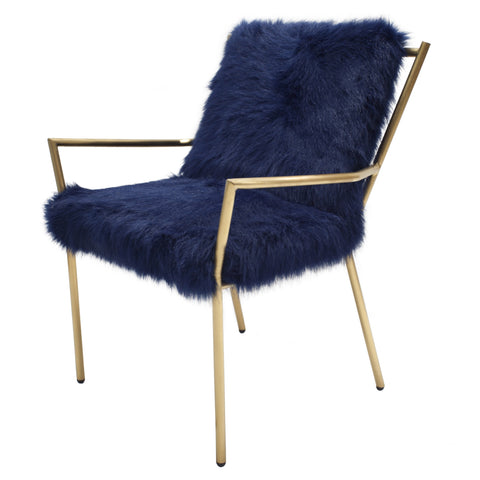 Bancroft Faux Fur Accent Chair NAVY/GOLD