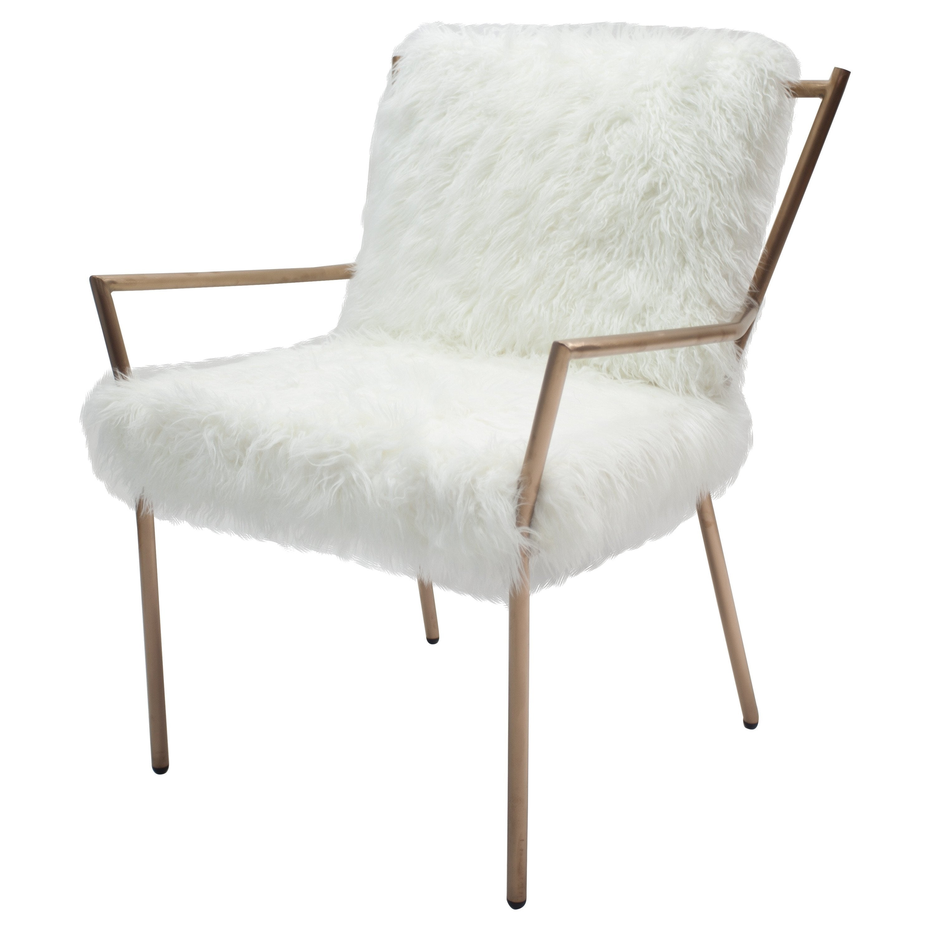 modern accent chairs midcentury modern accent chairs youull  - bancroft faux fur accent chair whiterose gold