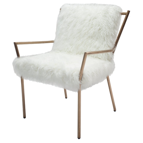 Bancroft Faux Fur Accent Chair WHITE/ROSE GOLD