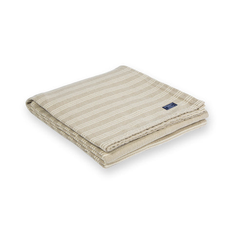 Beacon Stripe Cotton Throw by Faribault BEIGE