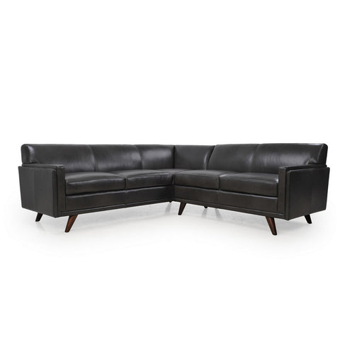 Cogswell 2 Piece L-Sectional Leather Sofa CHARCOAL - Apt2B - 1