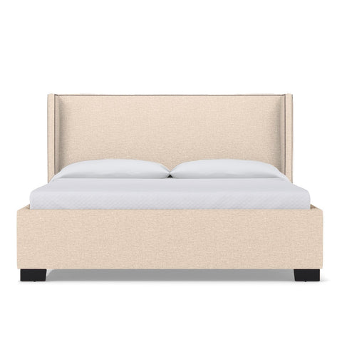 Everett Upholstered Bed QUEEN in LINEN NATURAL - CLEARANCE