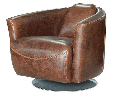 Ginsburg Swivel Club Chair CHESTNUT LEATHER