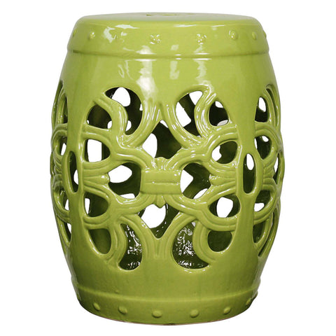 Golnaz Ceramic Garden Stool GREEN