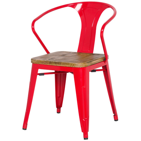 Grand Metal Arm Chair- Set of 4 RED - Apt2B