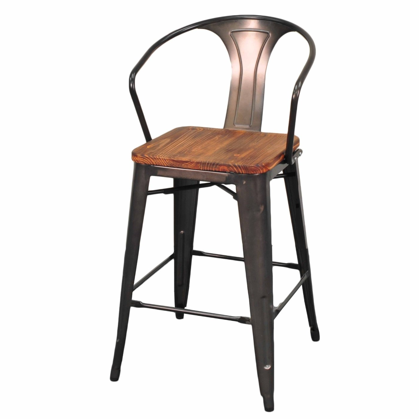 Grand Metal Counter Chair- Set of 4 GUNMETAL