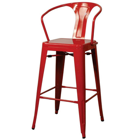 Oxford Metal Counter Chair- Set of 4 RED - Apt2B