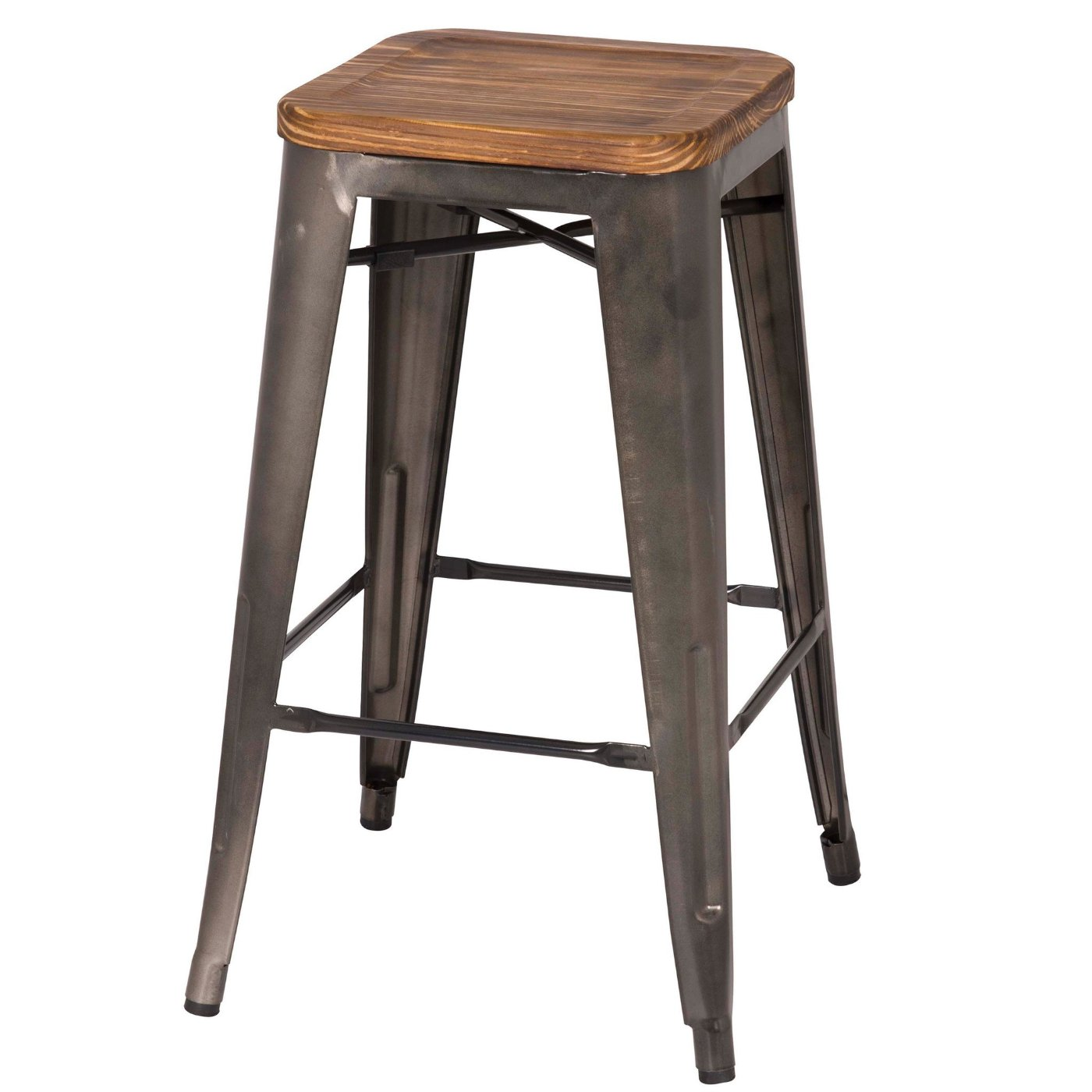 Grand Metal Counter Stool Set Of 4 Gunmetal Apt2b