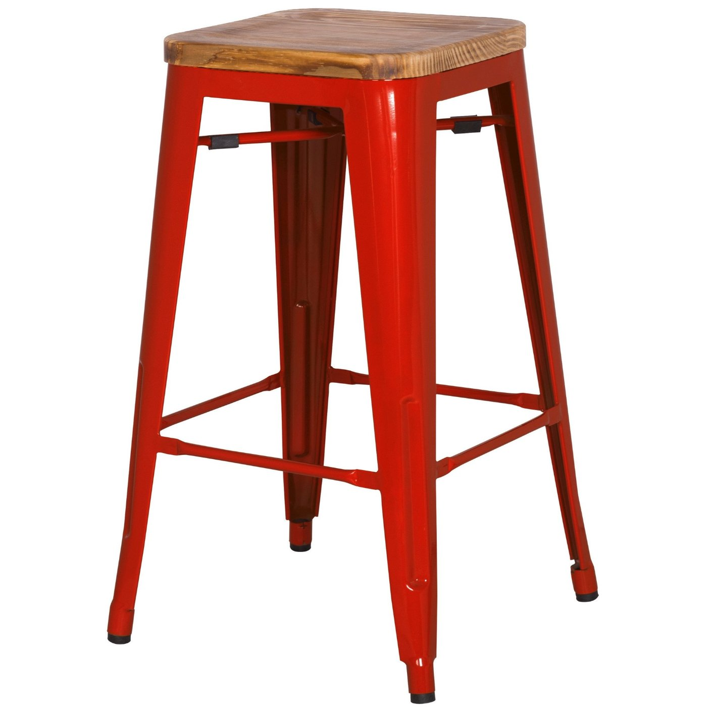 Grand Metal Counter Stool- Set of 4 RED