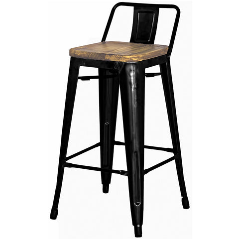 Grand Metal Low Back Counter Stool- Set of 4 BLACK - Apt2B