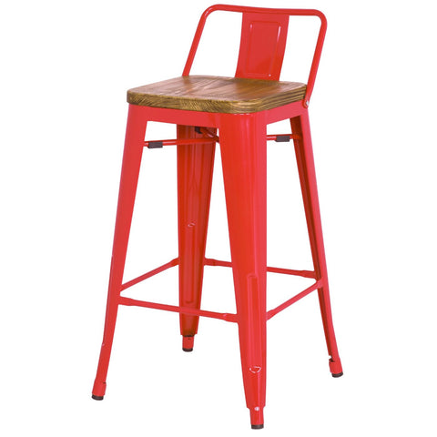 Grand Metal Low Back Counter Stool- Set of 4 RED - Apt2B