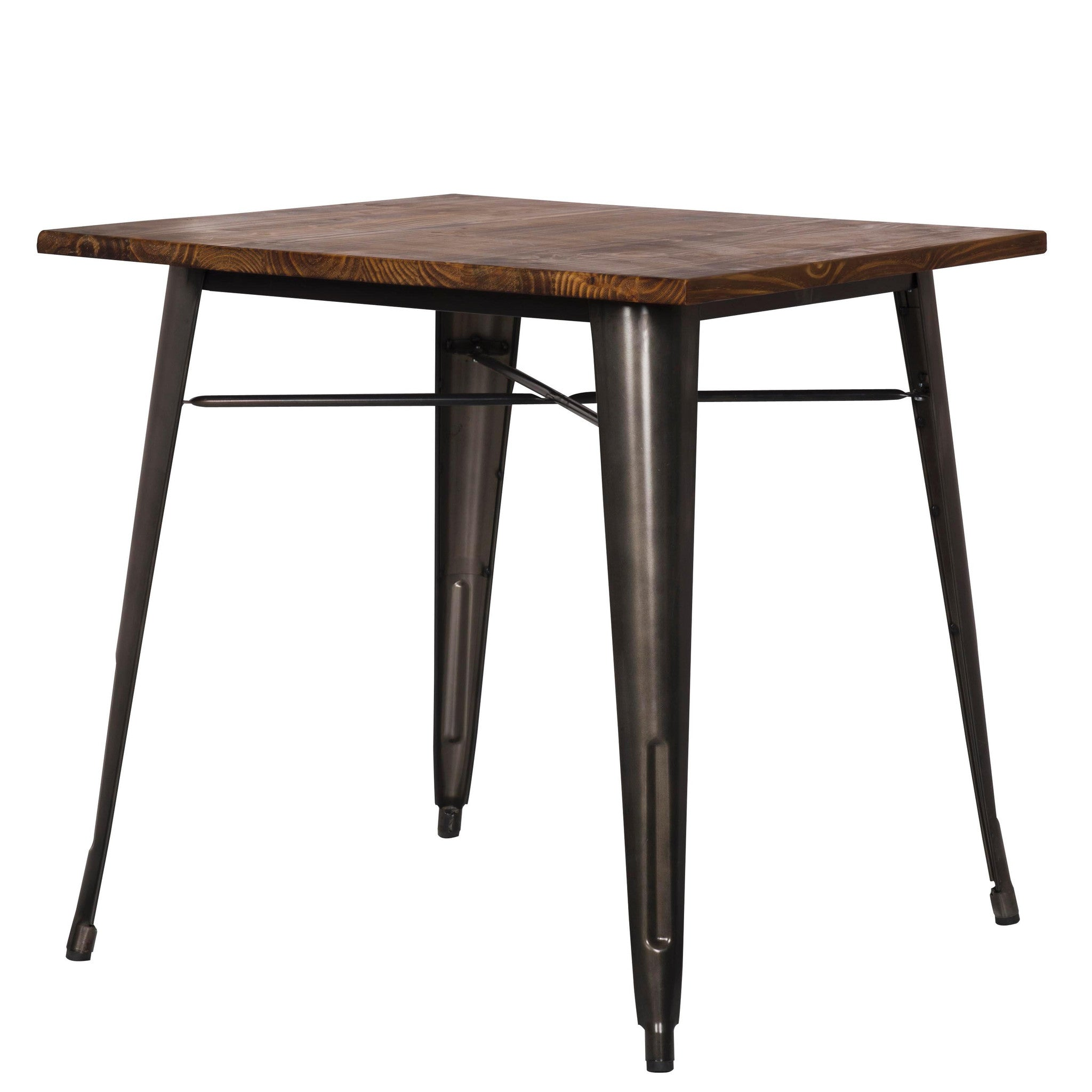 Grand Metal Square Dining Table GUNMETAL