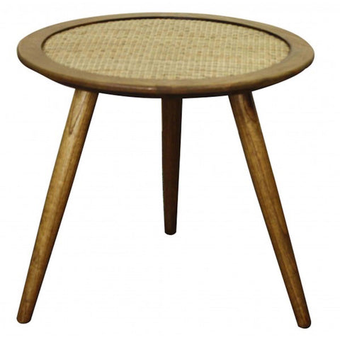 Kavi Round Side Table OAK AND RATTAN - Apt2B