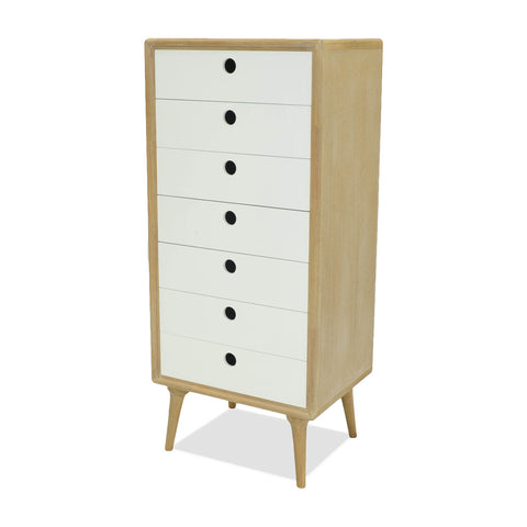 Mabel Tall Cabinet White/Natural - Apt2B - 1