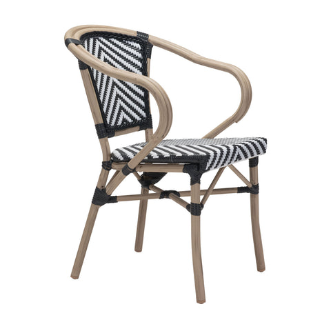 Mar Vista Outdoor Dining Chair - Set of 2 BLACK/WHITE