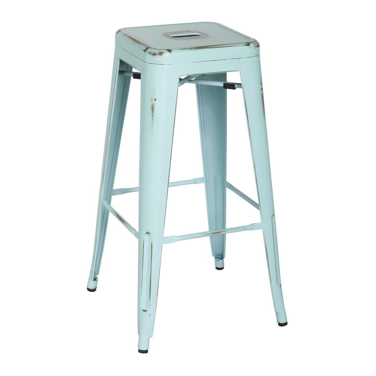 Oxford Metal Bar Stool- Set of 4 DISTRESSED BLUE
