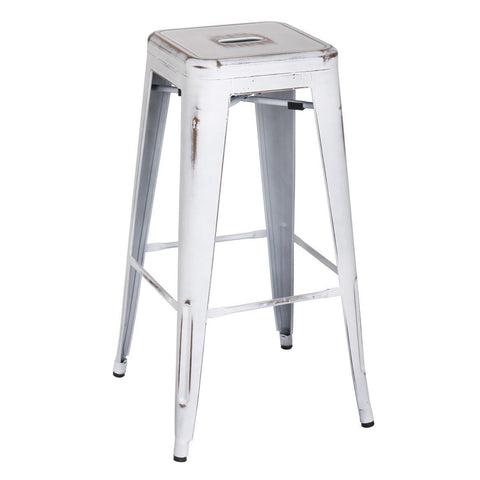 Oxford Metal Bar Stool- Set of 4 DISTRESSED WHITE - Apt2B