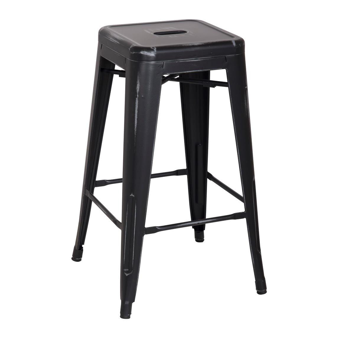 Oxford Metal Counter Stool- Set of 4 DISTRESSED BLACK