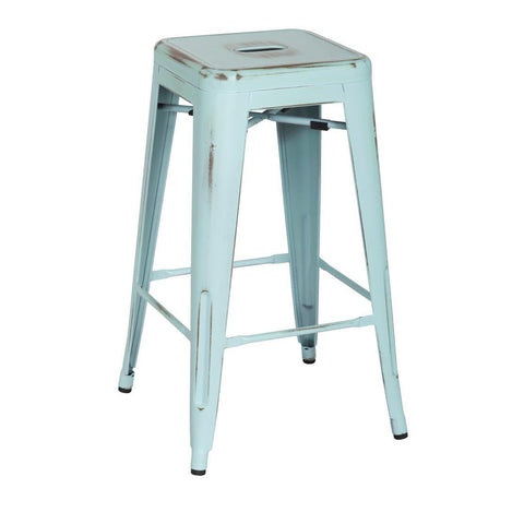 Oxford Metal Counter Stool- Set of 4 DISTRESSED BLUE - Apt2B