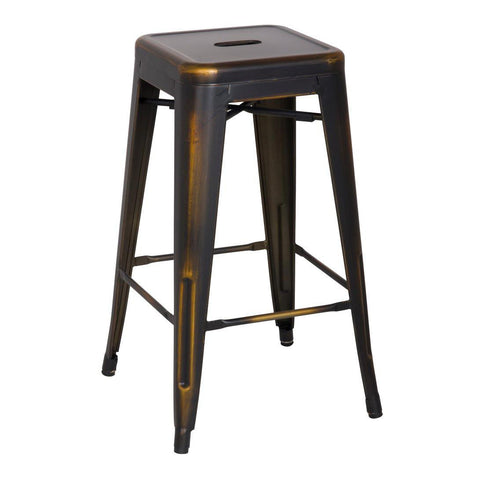 Oxford Metal Counter Stool- Set of 4 DISTRESSED COPPER - Apt2B
