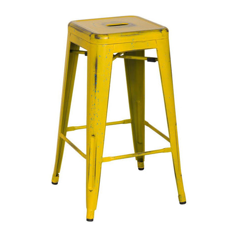 Oxford Metal Counter Stool  Set Of 4 DISTRESSED YELLOW