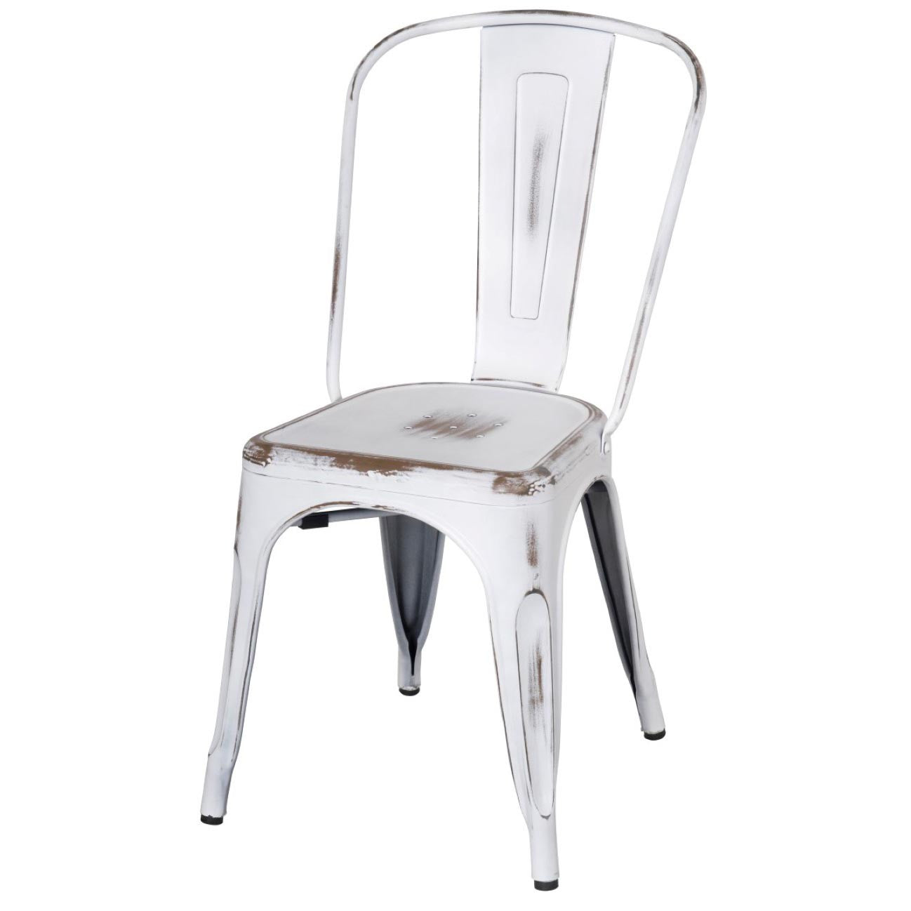 Oxford Metal Chair- Set of 4 DISTRESSED WHITE