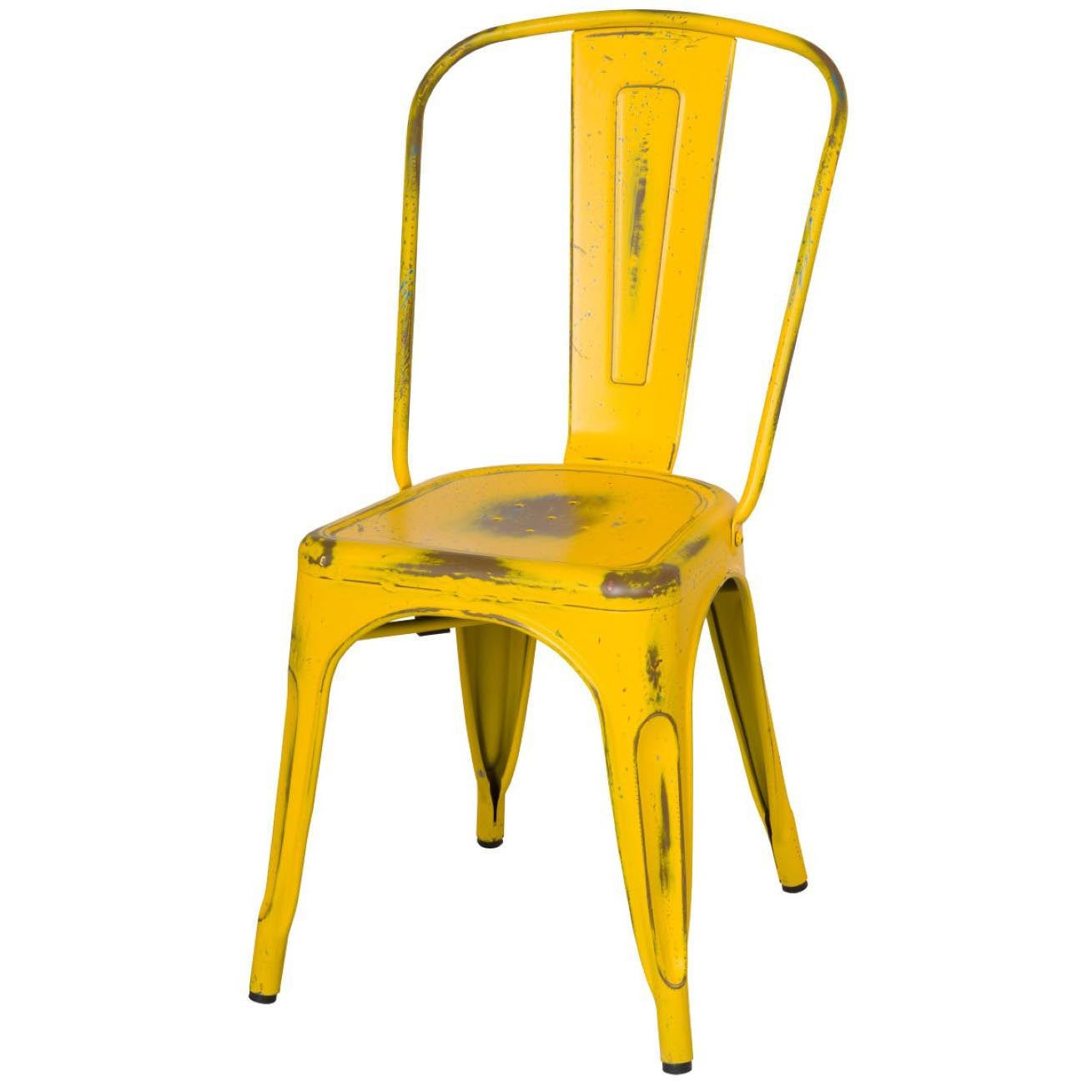 Oxford Metal Chair- Set of 4 DISTRESSED YELLOW