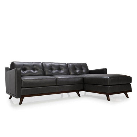 Pablo 2 Piece Leather Sectional CHARCOAL - Apt2B