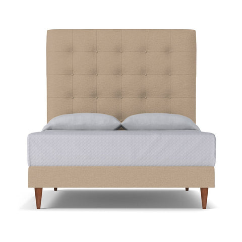 Palmer Upholstered Bed CAL KING in BEIGE - CLEARANCE
