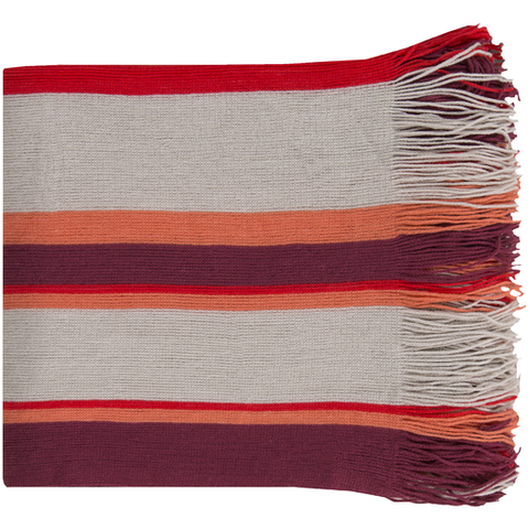 Redondo Striped Throw PURPLE/CORAL/GREY