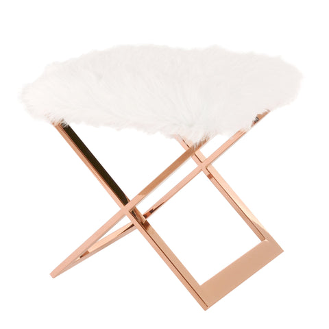Saticoy Faux Fur Ottoman WHITE/ROSE GOLD
