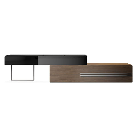 Topanga Extendable Media Stand BLACK/WALNUT