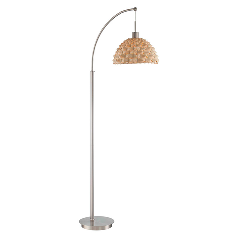Urchin Rattan Arch Floor Lamp POLISHED STEEL - Apt2B