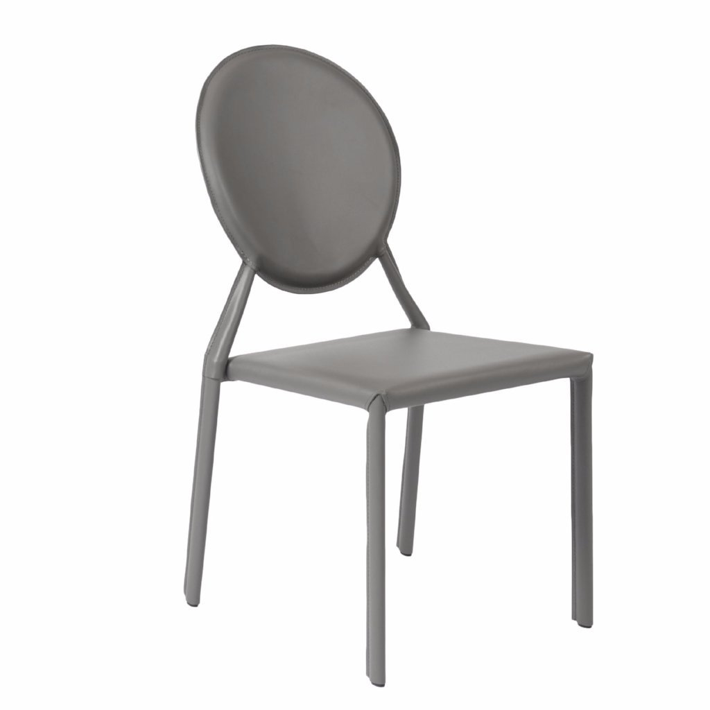 Valencia Ave All Leather Side Chair Set Of 2   GRAY