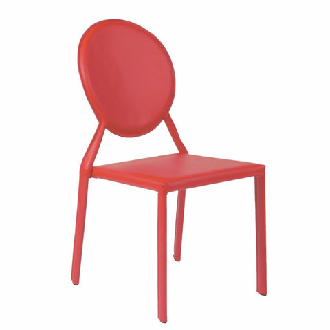 Valencia Ave All Leather Side Chair Set of 2 - RED