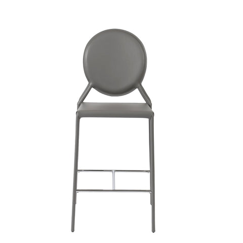 Valencia Ave All Leather Counter Stool Set of 2 - Gray