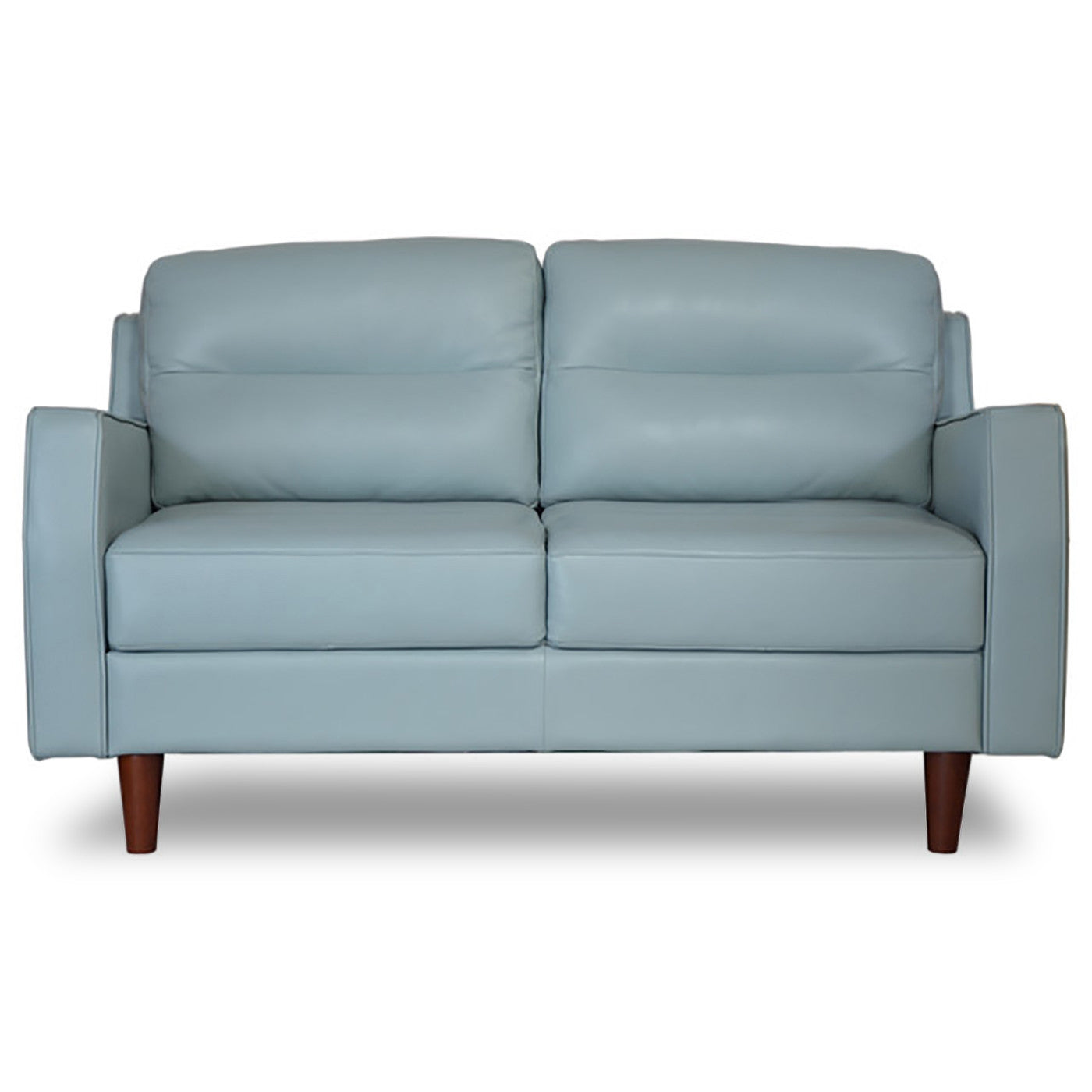 Valley spring leather apartment size sofa sky blue for Apartment size leather sofa