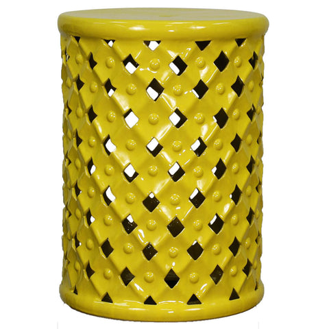 Weaver Ceramic Garden Stool YELLOW
