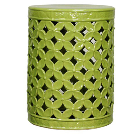 Weaver Ceramic Garden Stool GREEN