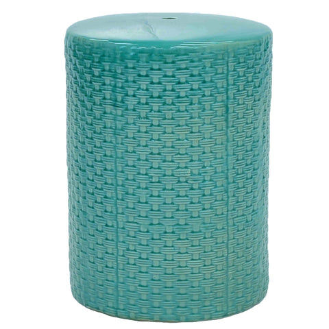 Weaver Ceramic Garden Stool TEAL