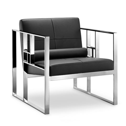 Westgate Lounge Chair BLACK/POLISHED STEEL - Apt2B - 1