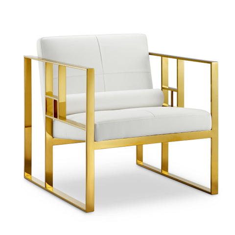 Westgate Lounge Chair WHITE/POLISHED GOLD - Apt2B - 1