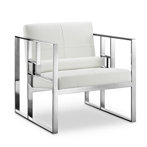 Westgate Lounge Chair WHITE/POLISHED STEEL - Apt2B - 1
