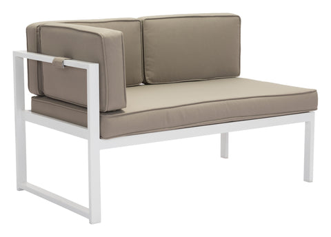 Zuma Outdoor Chaise LAF WHITE/TAUPE