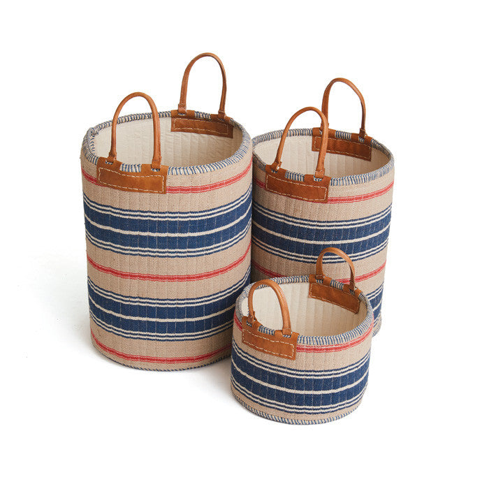 Admiral Linen Baskets SET OF 3 OATMEAL/RED/NAVY