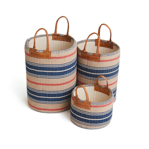 Admiral Linen Baskets SET OF 3 OATMEAL/RED/NAVY - Apt2B