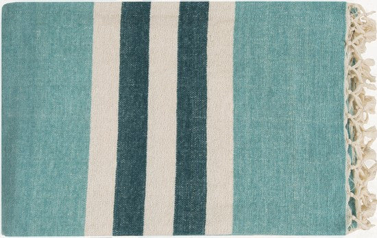 Toland Throw AQUA/IVORY/TEAL